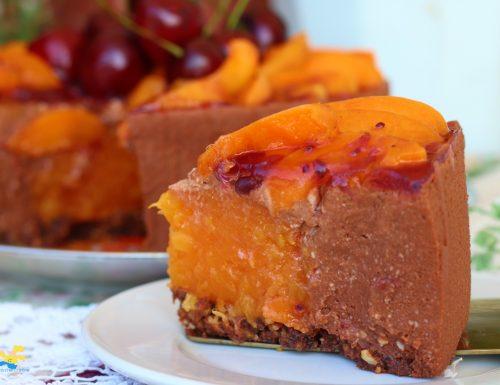 Torta fredda albicocche e cioccolato