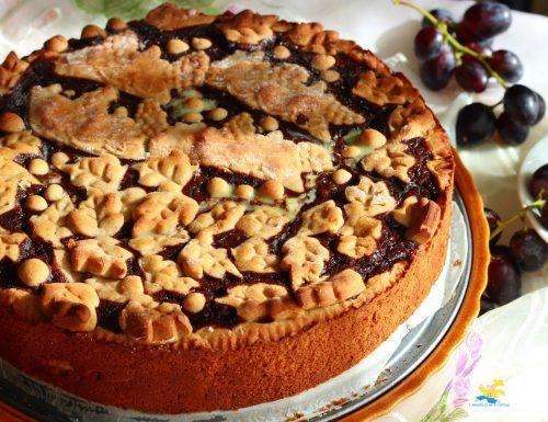 Crostata  grano saraceno uva e crema al cioccolato