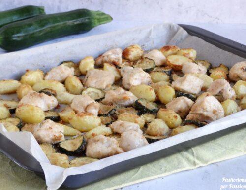 Bocconcini di pollo con patate e zucchine gratinati