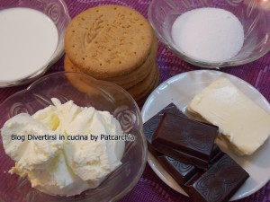 ingredienti cheesecake al cioccolato