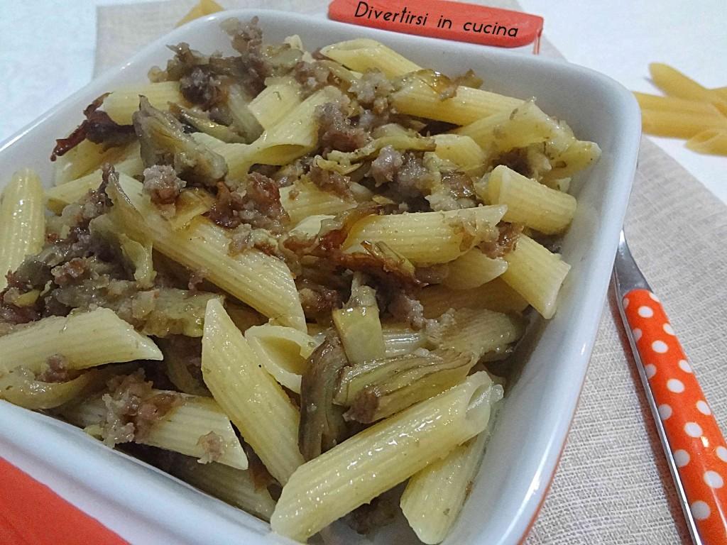 Ricetta Penne rigate con carciofi e salsiccia Divertirsi in cucina
