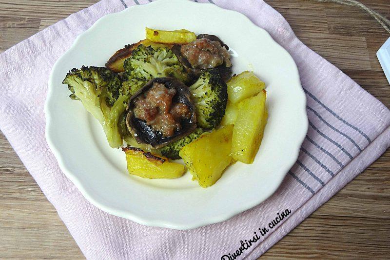 Teglia con patate funghi e broccoli
