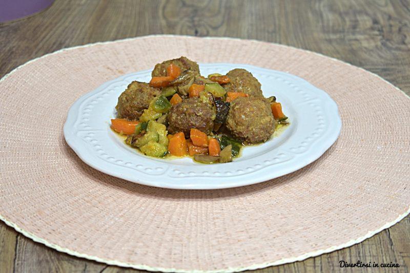 Polpette con contorno di zucchine e carote