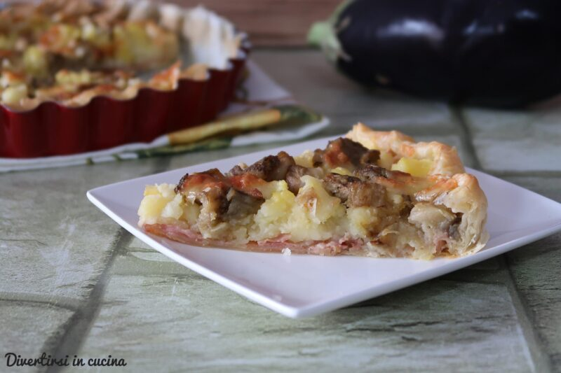 Torta salata patate e melanzane