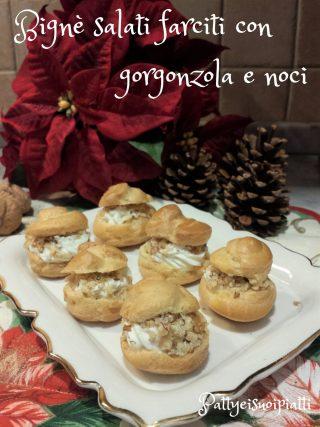 bignè salati farciti gorgonzola e noci