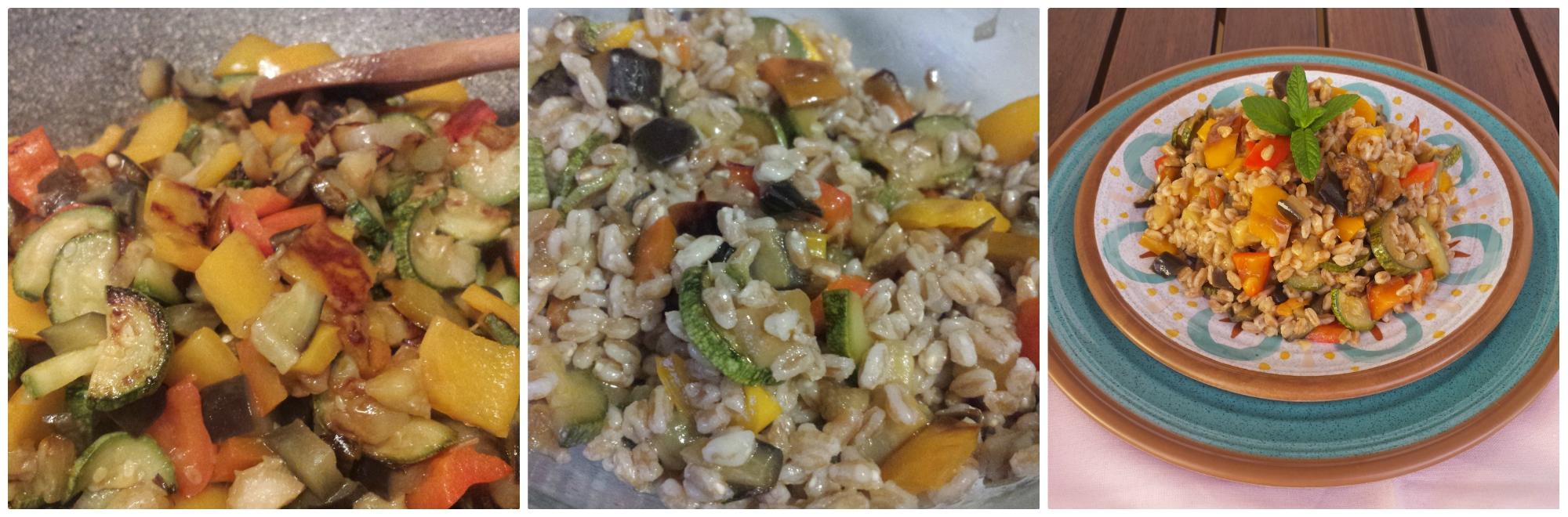 insalata di farro e verdure saltate