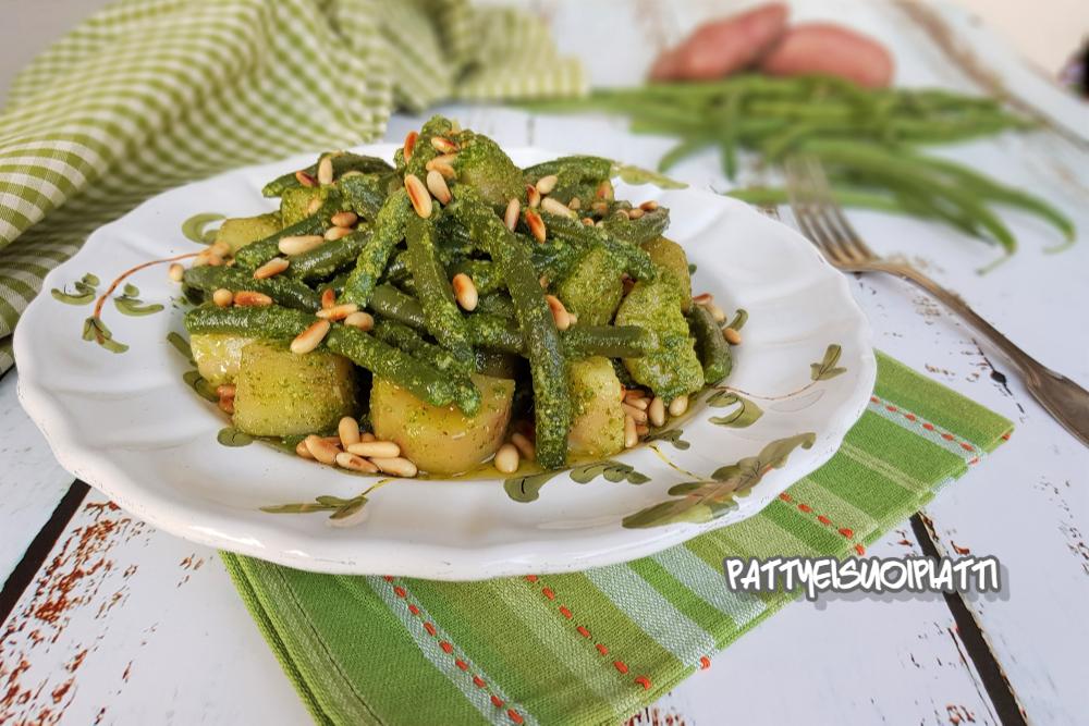 fagiolini e patate al pesto