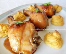Pollo glassato con duchesse allo zafferano