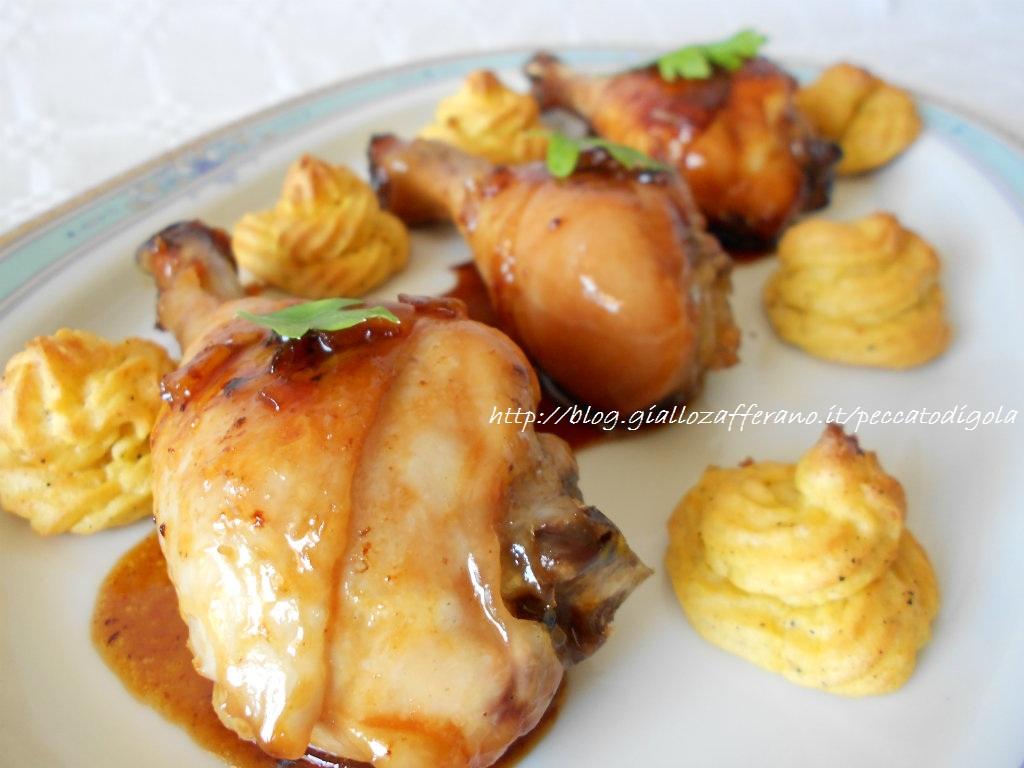 4) il pollo glassato con duchesse allo zafferano pronto