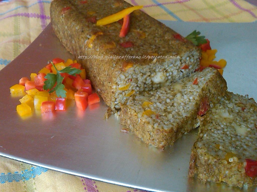 9) il plumcake di riso con peperoni all'agrodolce pronto