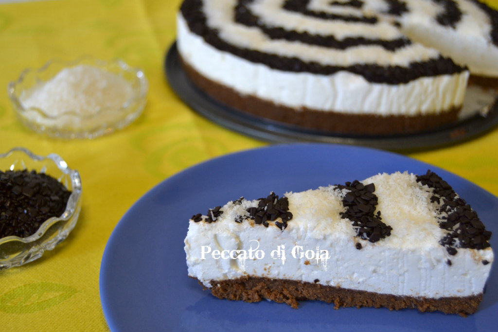torta fredda allo yogurt cocco e cioccolato, peccato di gola