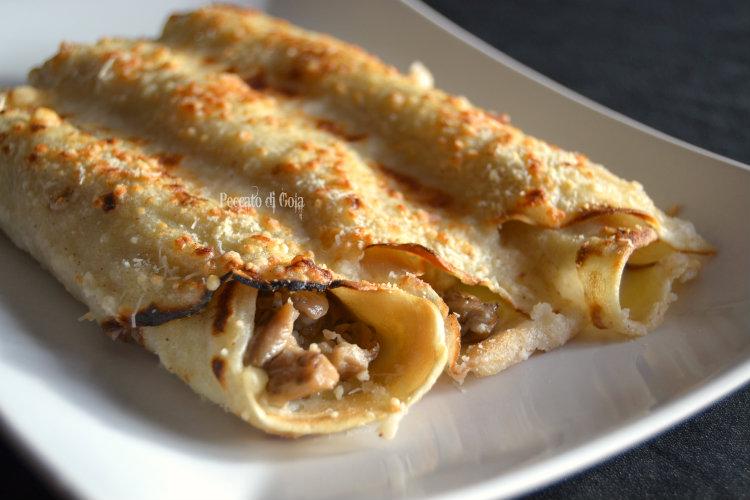 ricetta cannelloni di crepes con funghi e besciamella, peccato di gola