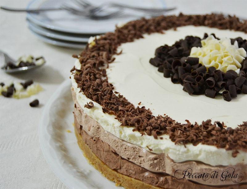 ricetta cheesecake ai tre cioccolati, peccato di gola