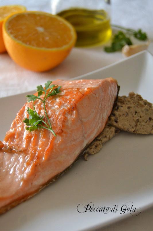 ricetta filetto di salmone con melanzane in spuma, peccato di gola