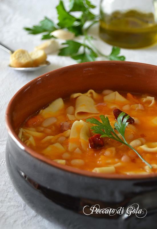 ricetta pasta fagioli e zucca, peccato di gola