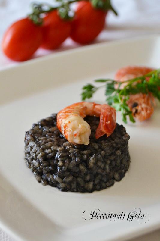 ricetta risotto al nero di seppia con gamberi, peccato di gola