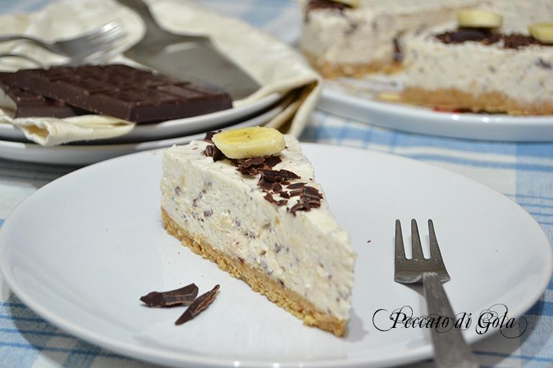 ricetta cheesecake banana e cioccolato, peccato di gola