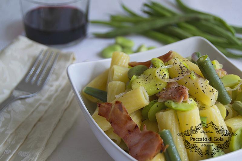 ricetta pasta fave e pancetta, peccato di gola