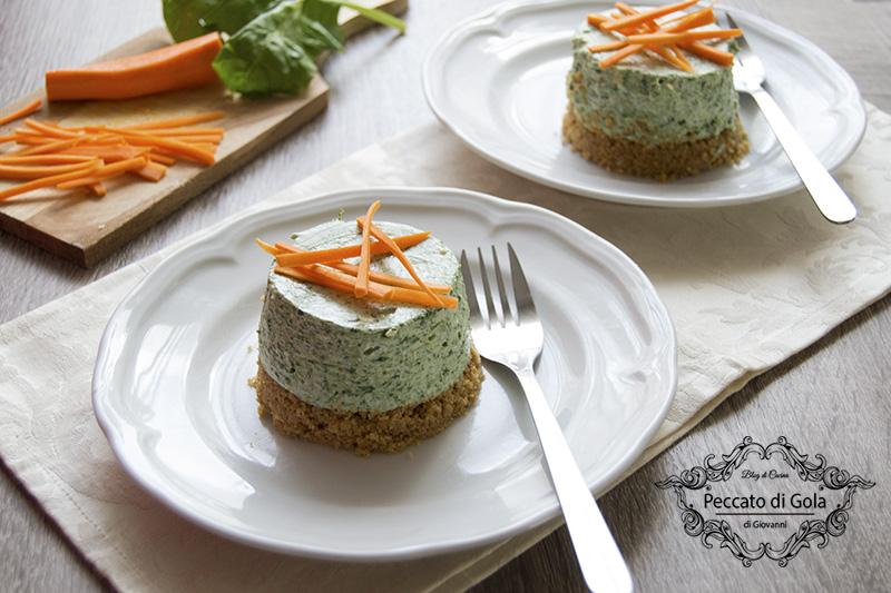 ricetta cheesecake agli spinaci con carote, peccato di gola