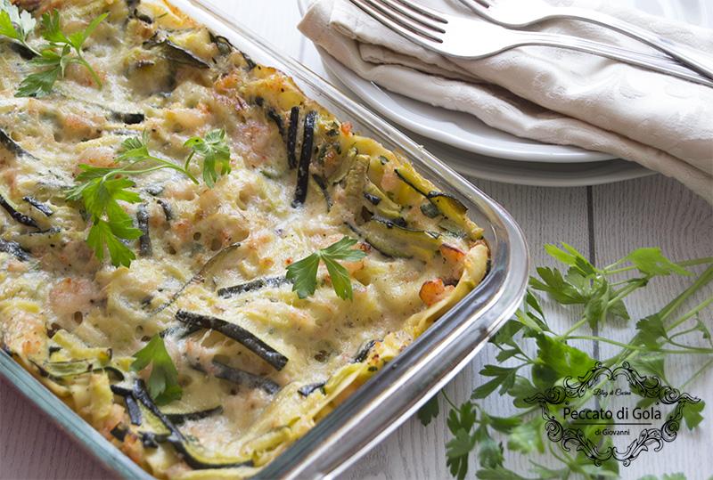 ricetta lasagne zucchine e gamberetti, peccato di gola