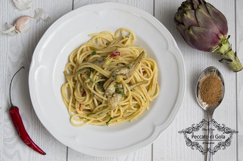 ricetta spaghetti carciofi e bottarga, peccato di gola