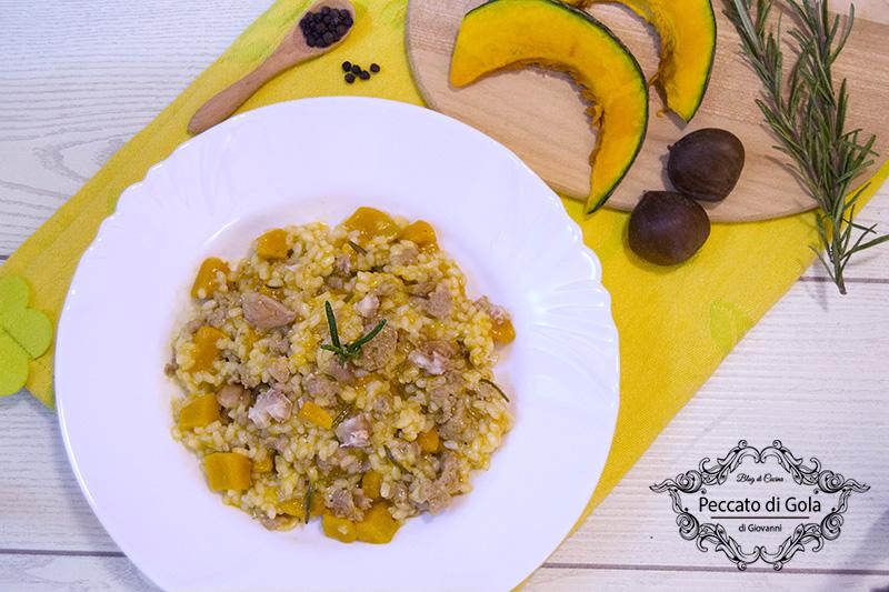 ricetta risotto con zucca, salsicce e castagne, peccato di gola