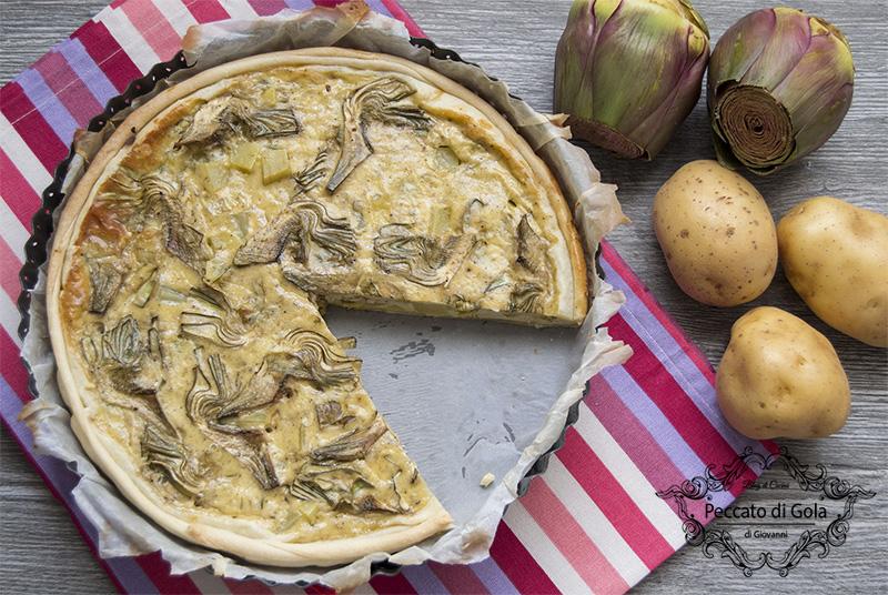 ricetta torta salata con patate e carciofi, peccato di gola