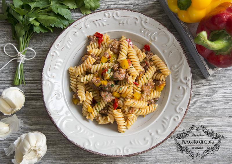 ricetta pasta salsiccia e peperoni, peccato di gola di giovanni