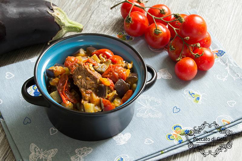 ricetta bocconcini di manzo con melanzane e pomodorini, pecato di gola di giovanni