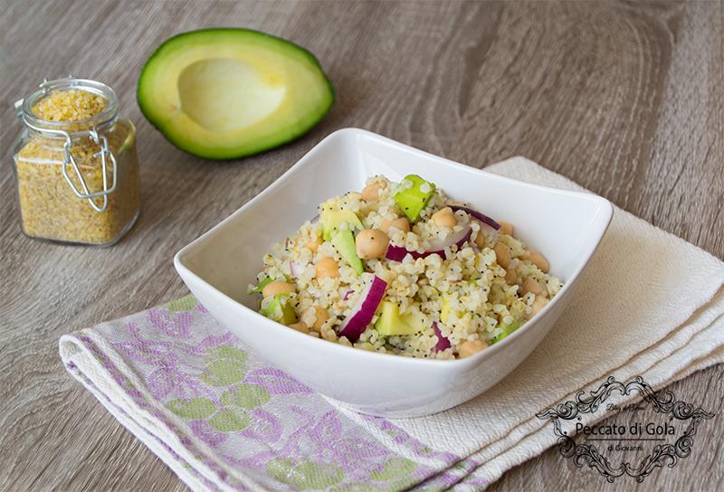 ricetta bulgur all'insalata di ceci e avocado, peccato di gola di giovanni
