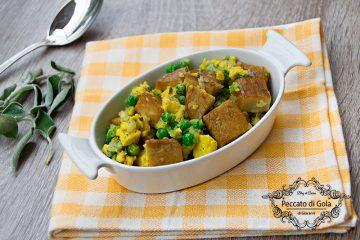 ricetta finto agnello coi piselli vegan, peccato di gola di giovanni