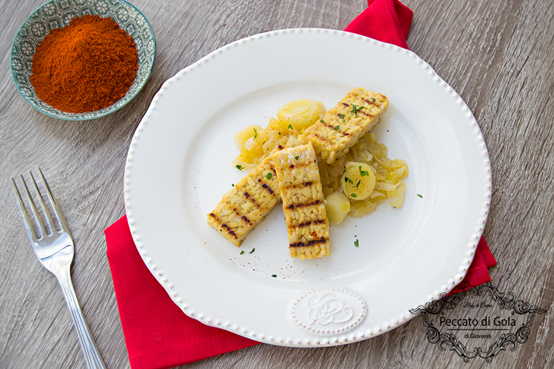 ricetta tempeh con porro glassato, peccato di gola di giovanni