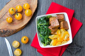 ricetta tofu con spinaci e pomodori gialli, peccato di gola di giovanni