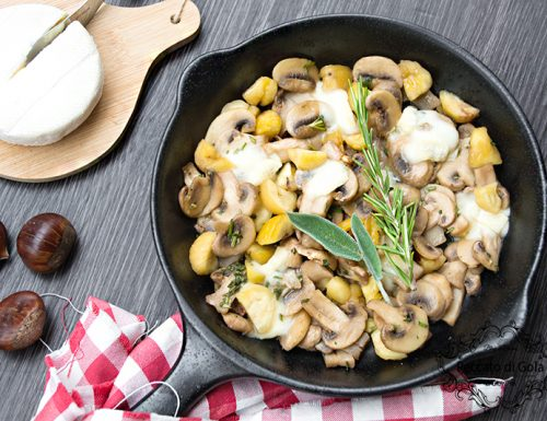 Funghi con castagne e tomino fuso