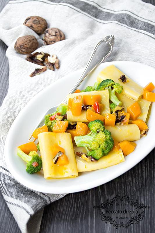ricetta paccheri con zucca e broccoletti, peccato di gola di giovanni 2