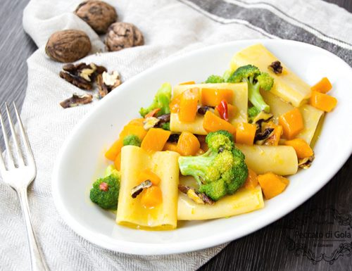 Paccheri con zucca e broccoletti