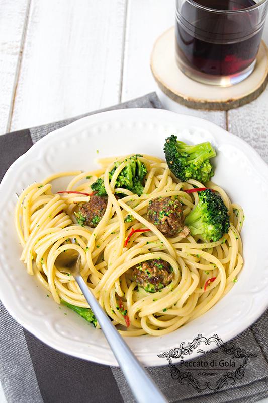 ricetta spaghetti con polpette e broccoli, peccato di gola di giovanni 2