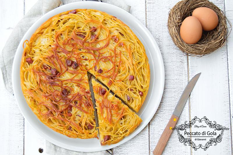 ricetta frittata di spaghetti, peccato di gola di giovanni