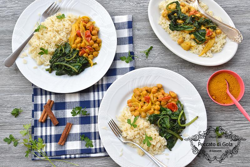 ricetta curry di ceci con riso e spinaci, peccato di gola di giovanni