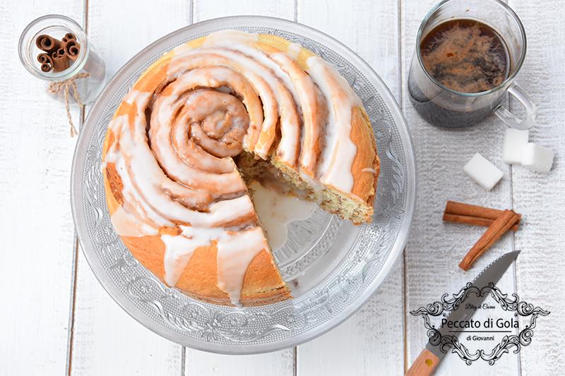 ricetta cinnamon roll cake, peccato di gola di giovanni