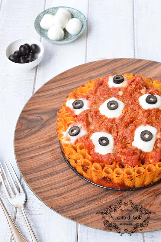 ricetta timballo di pasta con gli occhi di halloween, peccato di gola di giovanni 2