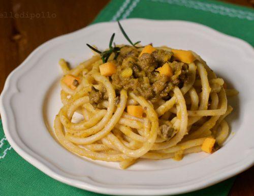 Pici toscani con fegatini e zucca