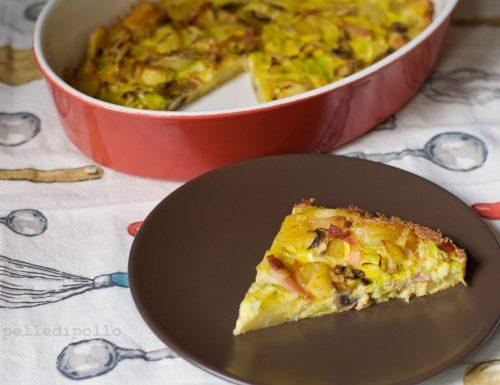Torta di patate speck e funghi al forno