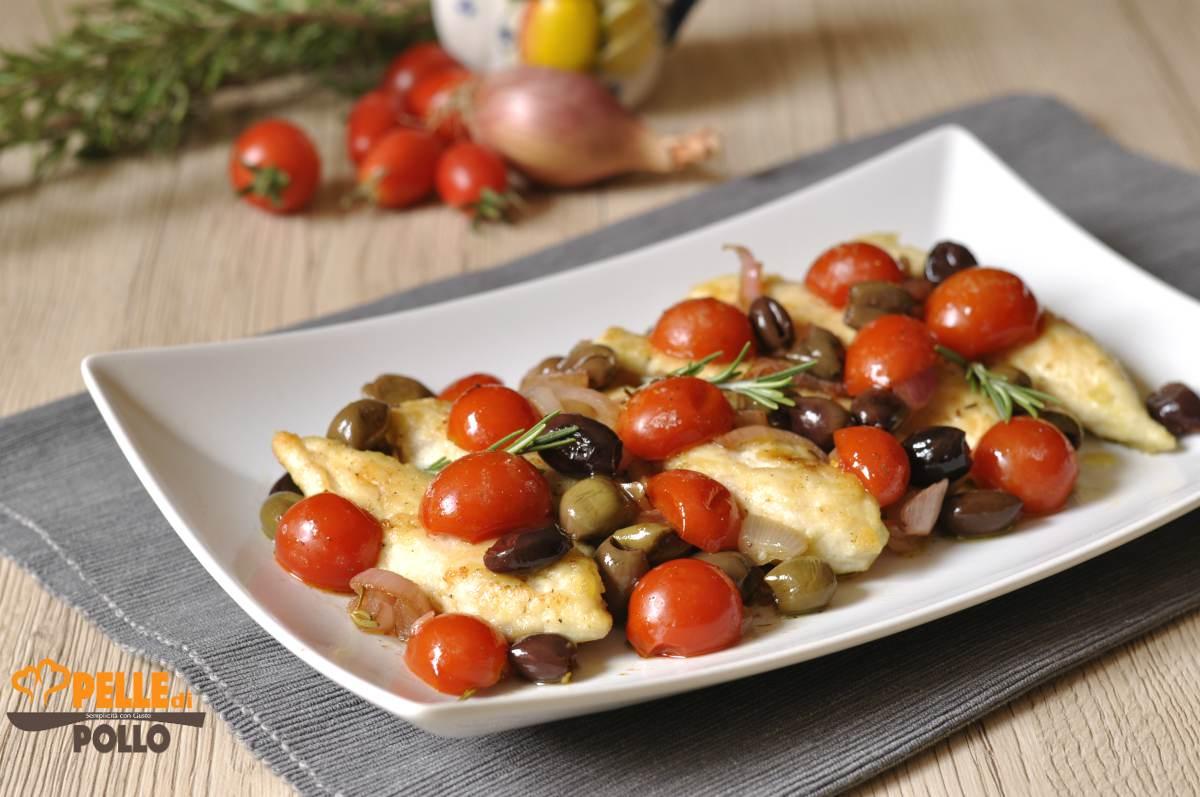 petti di pollo alle olive e pomodorini