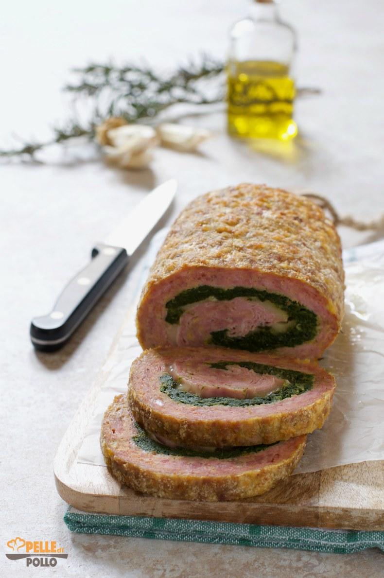 polpettone ripieno con spinaci e formaggio