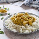 Curry di rana pescatrice con riso basmati