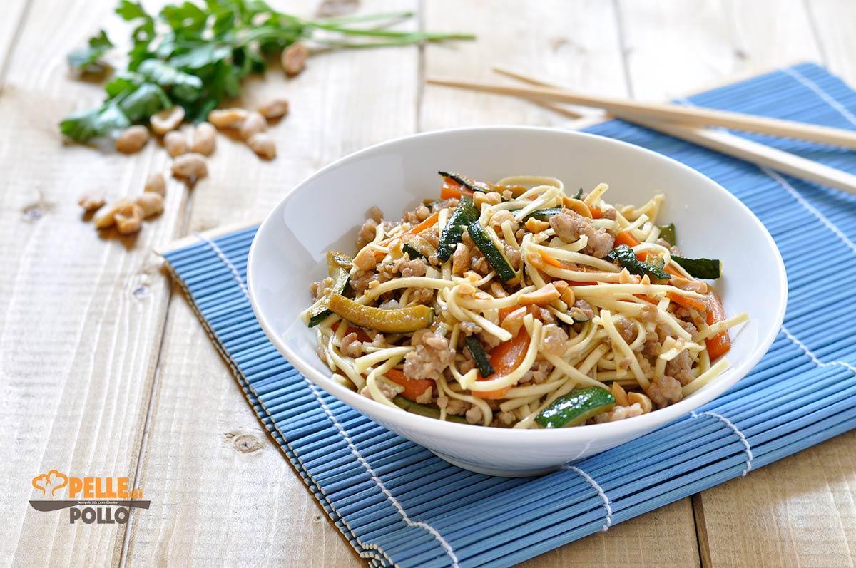 Ricetta Noodles Wok.Noodles Con Carne E Verdure Saltate In Padella Pelle Di Pollo