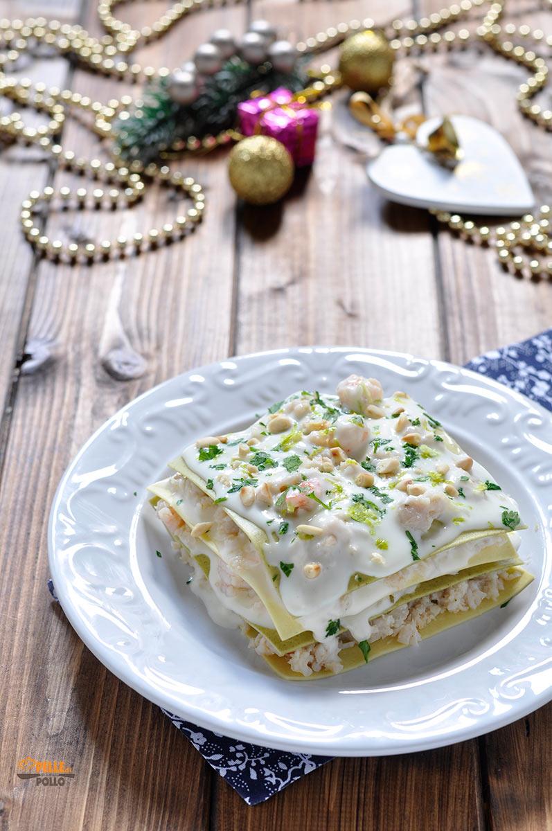 lasagne di pesce con persico e gamberi