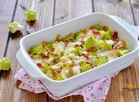 Broccolo romanesco gratinato al forno con speck