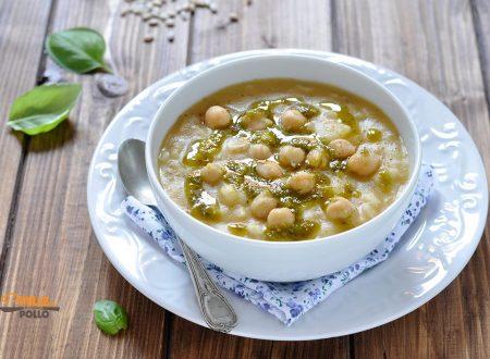 Zuppa di ceci e orzo con pesto al basilico